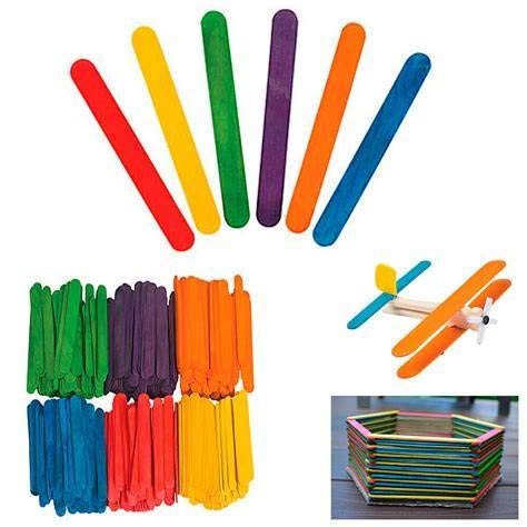 200 Pcs Colored Wooden Craft Sticks Wooden Popsicle Colored