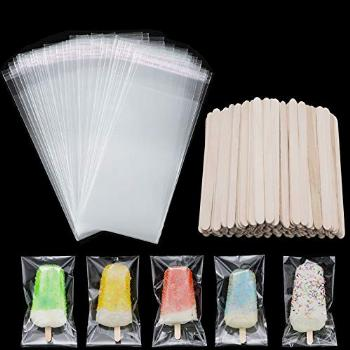 100 Pieces Popsicle Bags Ice Cream Bags Clear Ice Pop