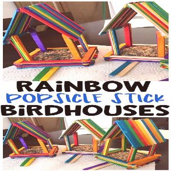 DIY Rainbow popsicle stick birdhouses for kids to make! What a fun spring craft art project for the