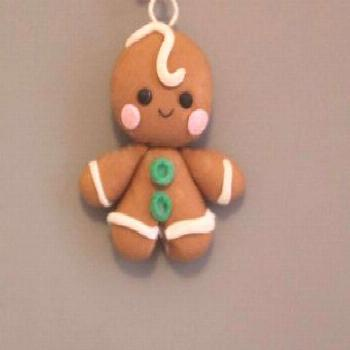 Gingerbread Man Charm,Clay Christmas Charm,Polymer Clay charm, Pendant,Cookie,Minature Food,Holiday
