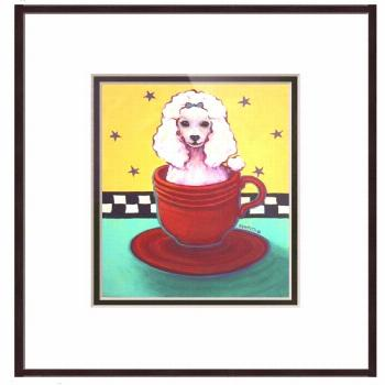 Radioactive Red Fiesta Teacup Poodle framed print A tiny white toy teacup poodle sits prettily in a