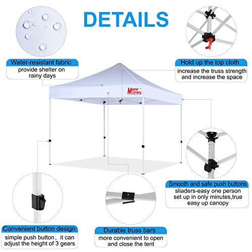 MASTERCANOPY Pop Up Canopy Tent Commercial Grade 10x10